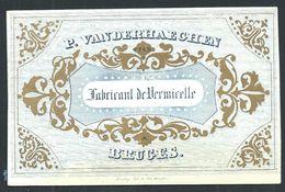 """Carte Porcelaine """" Vanderhaeghen Fabricant De Vermicelle Bruges """" 9 X 6 Cm - Gent"""