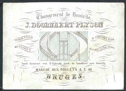 """Carte Porcelaine """" Doornaert Plyson Charpentier Menuisier Marché Aux Herbes 246 Bruges """" 15 X 10 Cm - Gent"""