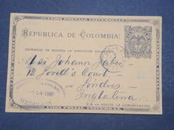 COLOMBIE - Entier Postal De Medellin Pour Londres En 1890 , Oblitération Maritime - L 9652 - Colombie