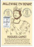 OBLITERATION MILLENAIRE DES CAPETIENS EN PICARDIE à RAMBURES SOMME1987 - Postmark Collection (Covers)