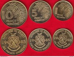 Guinea Set Of 3 Coins: 1 - 10 Francs Guineens 1985 UNC - Guinée