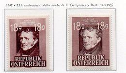 PIA - AUSTRIA  - 1947 : 75° Anniversario Della Morte Del Poeta Franz Grillparzer   -  (Yv 663-64) - 1945-.... 2ª República