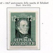 PIA  -  AUSTRIA - 1947 :150° Anniversario Della Nascita Di Franz Schubert - (Yv  665 ) - 1945-.... 2ª República