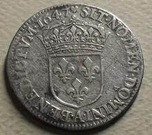 1647 - France - 1/4 D'ECU à La Mèche Longue, LOUIS XIV, (A), Gad 140 - 987-1789 Monnaies Royales