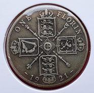 ♕♕  Grande Bretagne / Great Britain One Florin Argent  ' George V ' 1921 - Très Bel état  ♕♕ - J. 1 Florin / 2 Schillings