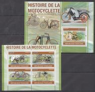 N46 2010 REPUBLIQUE TOGOLAISE HISTORY OF MOTOCYCLES KB+BL MNH - Motorbikes