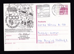 Germany: Illustrated Stationery Postcard, 1989, Sankt Andreasberg, Bobsled, Cancel Witch On Broom (traces Of Use) - [7] West-Duitsland