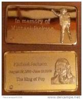 MICHAEL JACKSON MINI-LINGOT DORE VERGOLDET KING OF POP GOLD GOLDBARREN - USA