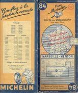 Carte Routière De 1948 MICHELIN N°84 MARSEILLE-MENTON - Cartes Routières