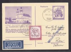 Austria: Stationery Postcard To Vatican, 1976, Additional Stamp, Returned, Cancel UNFICYP, UN Forces (traces Of Use) - 1945-.... 2ème République