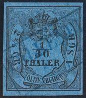 Oldemburgo. º2. 1852. 1/30 T Negro Sobre Azul. Matasello FALKENBURG, En Azul. MAGNIFICO. (Mi2III 35 Euros) - Oldenburg
