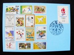 Post Card France 1992 Olympic Games Albertville Special Cancel Fete Du Sport 1990 Basketball Football Boxing Wrestling C - Brieven En Documenten