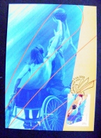 Post Card From Australia 2000 Olympic Games Sydney Special Cancel Fdc Paralympic Basketball Card Maximum - Cartoline Maximum