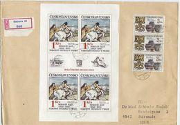 CZECHOSLOVAKIA 1983 National Theatre Artworks Sheetlets Used On Registered Covers.  Michel 2737-41 Kb - Blocks & Sheetlets