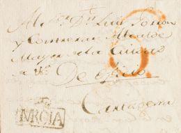 Murcia. Prefilatelia. SOBRE. 1790. MURCIA A CARTAGENA. Marca MURCIA, En Negro (P.E.4) Edición 2004. MAGNIFICA Y RARA. - Spain