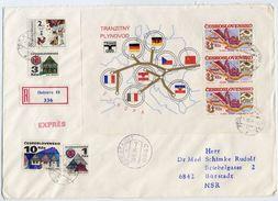 CZECHOSLOVAKIA 1984 Socialist Construction Block Used On Registered Cover.  Michel Block 61 - Blocks & Sheetlets