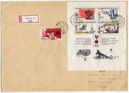 CZECHOSLOVAKIA 1983 Children's Book Illustrations Block Used On Registered Cover.  Michel Block 55 - Blocks & Sheetlets