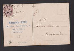 FRANCE / 1900 / Y&T N° 108 : Blanc 2c Brun-lilas - Sur CP Du 25/01/1911 à Destination De L'URUGUAY (Montevidéo) - Marcophilie (Lettres)