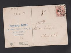 FRANCE / 1900 / Y&T N° 109 : Blanc 3c Orange - Sur CP 1911 02 24 à Destination De L'URUGUAY (Montevidéo) - Marcophilie (Lettres)