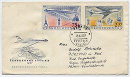 CZECHOSLOVAKIA 1957 Air Transport On  FDC.  Michel 1042-43 - FDC