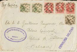 Guerra Civil. Bando Nacional. SOBRE 816, 817(2), 857(3). 1938. 5 Cts Castaño, 10 Cts Verde, Dos Sellos Y 30 Cts R - 1931-Today: 2nd Rep - ... Juan Carlos I