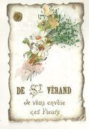 38 ST VERAND FANTAISIE FLEURS DECOUPIS CHROMO RUBAN ISERE - Saint-Vérand