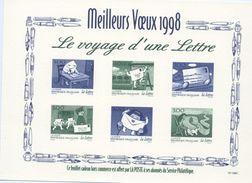 """Feuillet De La Poste Souhaitant """"Meilleus Voeux 1998""""- Avec L'illustration Des 3060 Au 3065 (1997) - Werbung"""