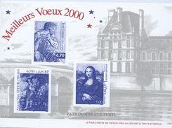 """Feuillet De La Poste Souhaitant """"Meilleus Voeux 2000""""- Avec L'illustration Des 3222, 3235 Et 3289  (1999) - Werbung"""