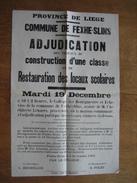 Placard 1922 Commune FEXHE-SLINS - Adjudication Des Travaux De Construction D'une Classe & Restauration Locaux Scolaires - Affiches