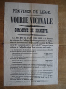 Placard 1891Commune De HANEFFE - Adjudication De Divers Travaux Concernant La Voirie Vicinale - Affiches