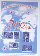 """Feuillet  LaPoste Souhaitant Les """"Meilleurs Voeux 2001"""" Avec L'illustration Des N° 3365-3327-3357 Et 3364 -(2000) - Werbung"""