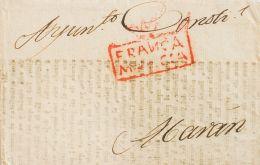 Murcia. Prefilatelia. SOBRE. (1823ca). Faja De Periódico (confeccionada Con Una Hoja De Un Libro) De MURCIA A ABARAN. Ma - Spain