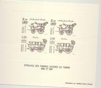 """Epreuve  LaPoste"""" Journée Du Timbre1986 Et 1987"""" Avec L'illustration Des N°2468 Et 2410 (1986 Et 1987) - Werbung"""