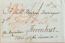 Murcia. Prefilatelia. SOBRE. 1801. ORIHUELA A HERRNHUT (ALEMANIA). Marca O / MURCIA, En Rojo (P.E.3) Edición 2004. MAGNI - Spain