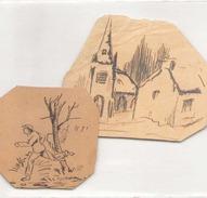 Dessin Sur Carton Encre De Chine église Et Homme Qui Court ( Les 2 ) 5cm X 5 Cm Et 7 Cm X 6 Cm - Andere Verzamelingen