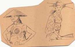 Dessin Sur Carton Encre De Chine Anoté  Chinois Japonnaise 15,5 Cm X 10 Cm - Andere Verzamelingen