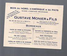 Bordeaux (33 Gironde) Carte Commerciale MONIER (bois) (PPP5757) - France