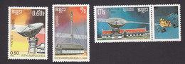 Cambodia, Scott #830-832, Mint Hinged, Telecommunications, Issued 1987 - Cambodge