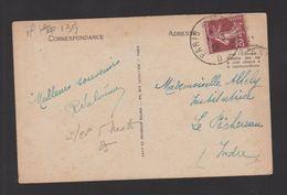 FRANCE / 1907 / Y&T N° 139 : Semeuse Camée 20c Brun - Sur CP Du 3/08/1928 (Ambulant Paris à Bayonne - D) - Postmark Collection (Covers)