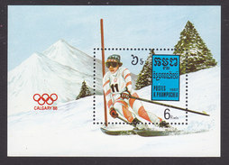 Cambodia, Scott #840, Mint Hinged, Winter Olympics, Issued 1988 - Cambodia