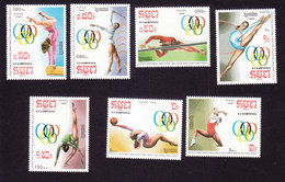 Cambodia, Scott #844-850, Mint Hinged, Summer Olympics, Issued 1988 - Cambodia