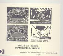 """Epreuve  LaPoste- Epreuve Des 4 Timbres : """"Tunnel Sous La Manche"""" Avec L'illustration Des N°2880 Et 2883 (1994) - Werbung"""