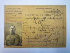 CARTE Du COMBATTANT  De Georges  PICOT   1935    - Documents