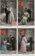 Croissant 3017, Série De 4 Cartes ABC Du Bonheur (couple - Coppie