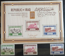 V33 - Iraq 1963 SG 636-638 & MS639 Complete 3v. & S/S MNH - Freedom From Hunger - Irak