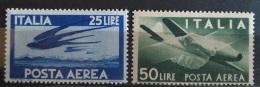 V33 - Italy 1945 / 1947 Airmail - 25 L Blue & 50L Dark Green - MNH Stamps - 1946-47 Corpo Polacco Period
