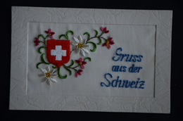 CARTE BRODEE SUISSE Gruss Aus Der Schneiz écusson Et Fleurs H B &Co Rh - Ricamate