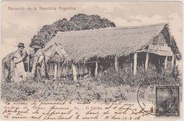 Cpa,recuerdo De La Republica Argentina 1906,pa   El Estribo,ranch,cheval,timb Re Rare - Argentine