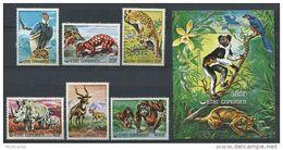 1976 Comores,Comorien - Endangered Animals 6v+sheet, Rhinoceros , Condor, Leopard, Monkey, Bird Yv 170/74/118/BF 6  MNH - Rhinozerosse