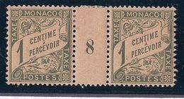 MONACO - TAXE 1  1C OLIVE MILLESIME 8 PAPIER GC NEUF* MLH COTE 20 EUR - Impuesto